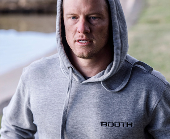 BOOTH Active Sweat Hoodie - GREY MARLE